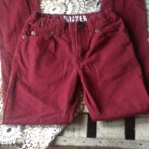 Girls maroon pants with adjustable waist